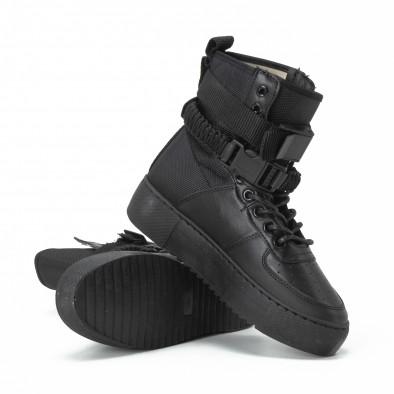 Teniși înalți pentru dama All black cu accesoriu it150818-62 3