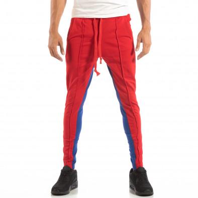 Jogger pentru bărbați în roșu și albastru cu benzi și fermoare it240818-102 3