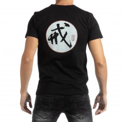 Tricou negru cu motiv oriental pentru bărbați it261018-119 3