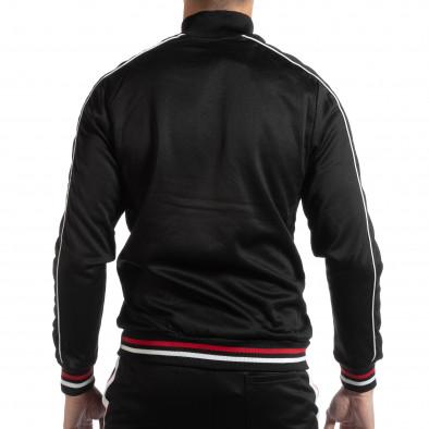 Hanorac simplu pentru bărbați negru cu benzi albe și roșii it261018-79 3