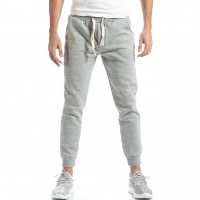 Pantaloni de trening pentru bărbați basic în melanj gri it051218-16 2