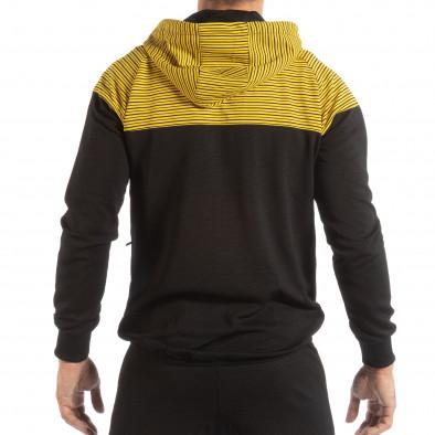 Hanorac pentru bărbați negru cu glugă galbenă it240818-119 3