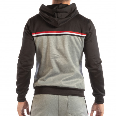 Hanorac în gri-negru 3 striped pentru bărbați it240818-109 3