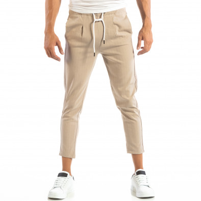 Pantaloni ușori bej în dungi pentru bărbați it240818-70 3