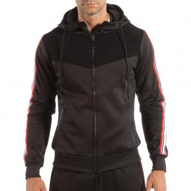 Hanorac negru pentru bărbați cu banda în 3 culori it240818-112 2