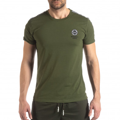 Tricou de bărbați verde cu logo și bandă it210319-82 2