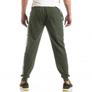 Pantaloni sport de bărbați verzi cu logo și benzi it210319-48 4