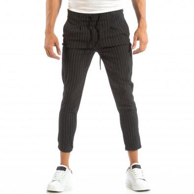 Pantaloni ușori gri închis în dungi pentru bărbați it240818-69 3