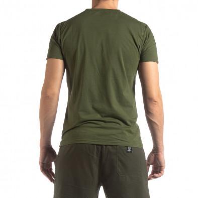 Tricou de bărbați verde cu logo și bandă it210319-82 4