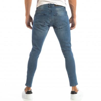 Blugi Skinny albaștri pentru bărbați cu fermoare la crac it240818-61 3