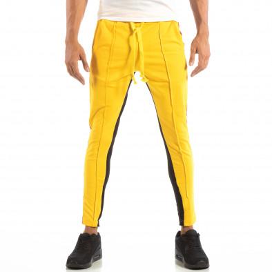 Jogger pentru bărbați în galben și negru cu benzi și fermoare it240818-98 4