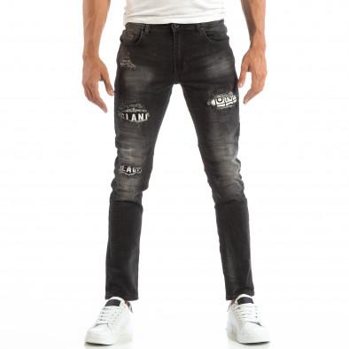 Blugi pentru bărbați în negru cu efect decolorat si patch-uri it240818-31 3