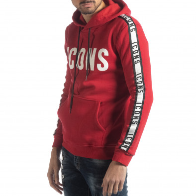 Hanorac roșu matlasat ICONS pentru bărbați it051218-48 2
