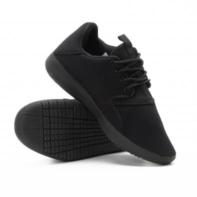 Adidași pentru bărbați din țesătură neagră model ușor it301118-4 4