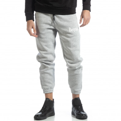 Pantaloni de trening din bumbac în gri deschis British pentru bărbați it051218-21 3