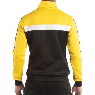 Hanorac negru 5 striped cu galben pentru bărbați it240818-108 3