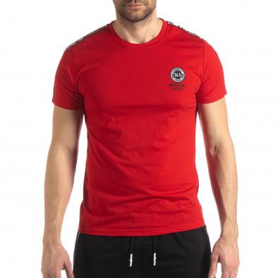 Tricou de bărbați roșu cu logo și bandă it210319-83 3