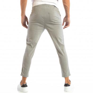 Pantaloni ușori în gri deschis în dungi pentru bărbați it240818-68 4