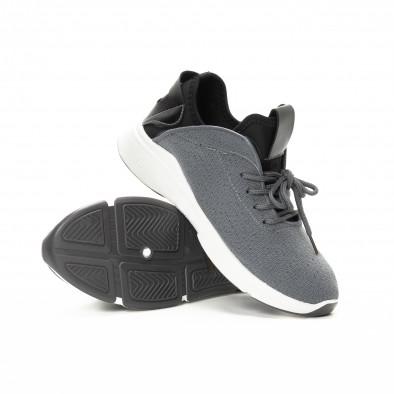 Adidași în gri și negru din material textil pentru bărbați it221018-38 4
