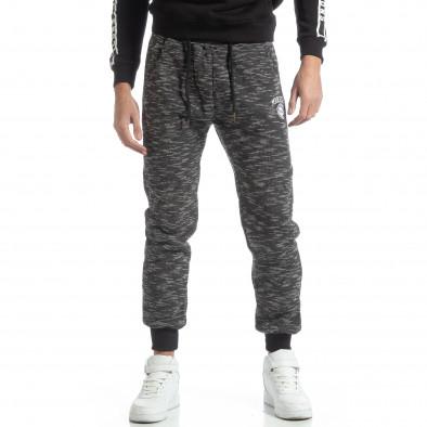 Pantaloni sport groși în melanj negru pentru bărbați it051218-19 2