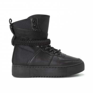 Teniși înalți pentru dama All black cu accesoriu it150818-62 2