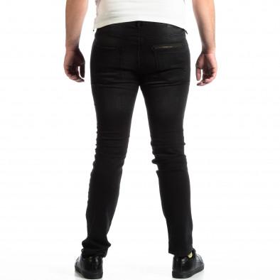 Slim Jeans negri pentru bărbați House cu patch-uri lp290918-145 3