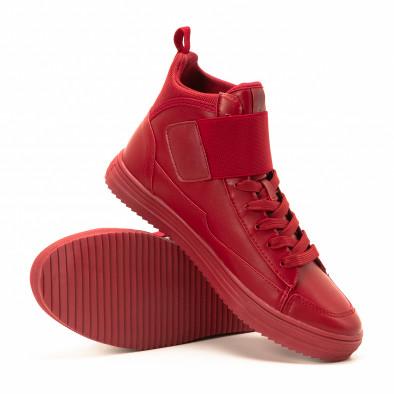 Teniși înalți roșii cu șireturi pentru bărbați it140918-7 4