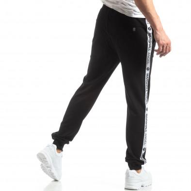 Pantaloni sport de bărbați negri cu logo și benzi it210319-47 4
