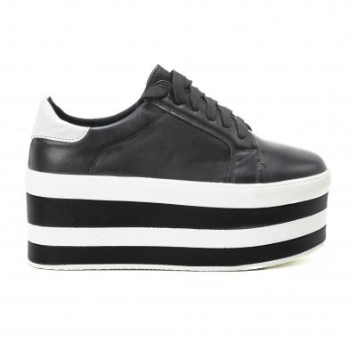 Teniși pentru dama cu platforma în alb-negru it140918-54 2