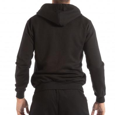 Hanorac pentru bărbați negru cu glugă și fermoar it240818-104 3