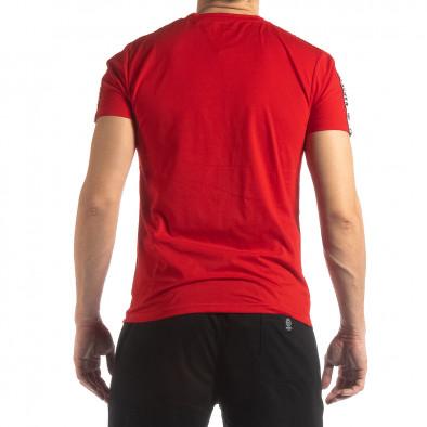 Tricou de bărbați roșu cu logo și bandă it210319-83 4