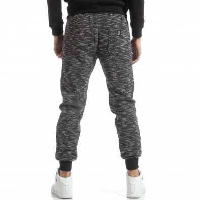Pantaloni sport groși în melanj negru pentru bărbați it051218-19 3