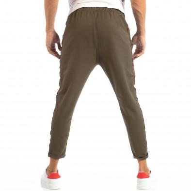 Pantaloni ușori în verde cu benzi pentru bărbați it240818-62 4