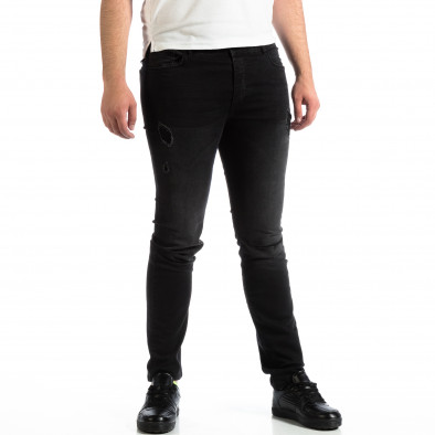 Slim Jeans negri pentru bărbați House cu patch-uri lp290918-145 2