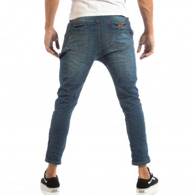 Blugi albaștri pentru bărbați cu talie elastică it240818-45 4