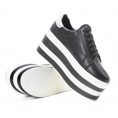 Teniși pentru dama cu platforma în alb-negru it140918-54 5
