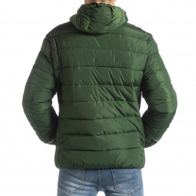 Geacă pentru bărbați verde cu puf și părți negre it051218-65 4