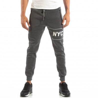 Pantaloni sport gri matlasate pentru bărbați NYC it240818-96 2