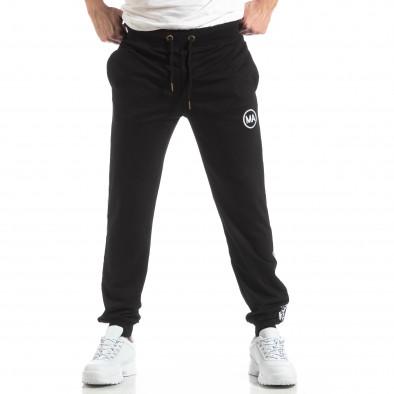 Pantaloni sport de bărbați negri cu logo și benzi it210319-47 2
