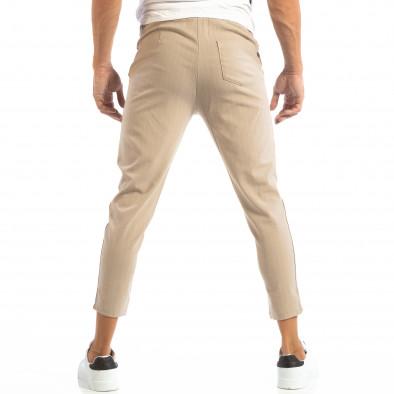 Pantaloni ușori bej în dungi pentru bărbați it240818-70 4