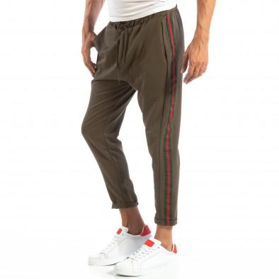 Pantaloni ușori în verde cu benzi pentru bărbați it240818-62 2