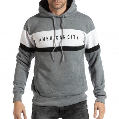 Hanorac pentru bărbați American City gri it261018-87 2