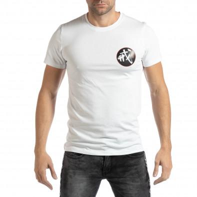 Tricou alb cu motiv oriental pentru bărbați it261018-118 2