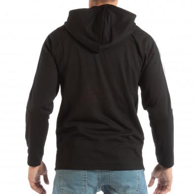 Hanorac negru cu glugă și benzi albe pentru bărbați it240818-133 3