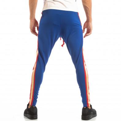 Jogger pentru bărbați în roșu și albastru cu benzi și fermoare it240818-102 4