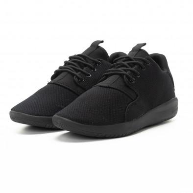 Adidași pentru bărbați din țesătură neagră model ușor it301118-4 3