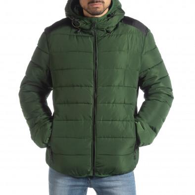 Geacă pentru bărbați verde cu puf și părți negre it051218-65 3