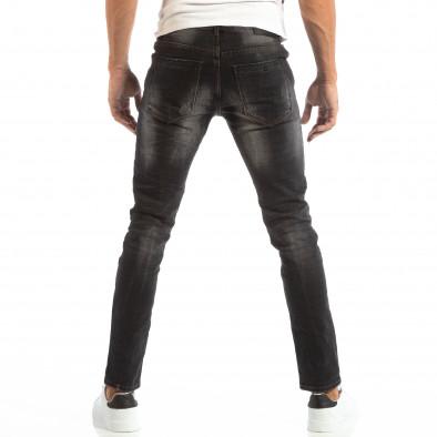 Blugi pentru bărbați în negru cu efect decolorat si patch-uri it240818-31 4
