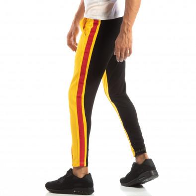 Jogger pentru bărbați în galben și negru cu benzi și fermoare it240818-98 3
