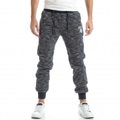 Pantaloni sport groși în melanj albastru pentru bărbați it051218-20 3